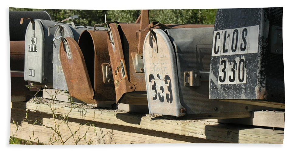 Mailboxes Hand Towel featuring the photograph Awaiting Mail by Diane Greco-Lesser