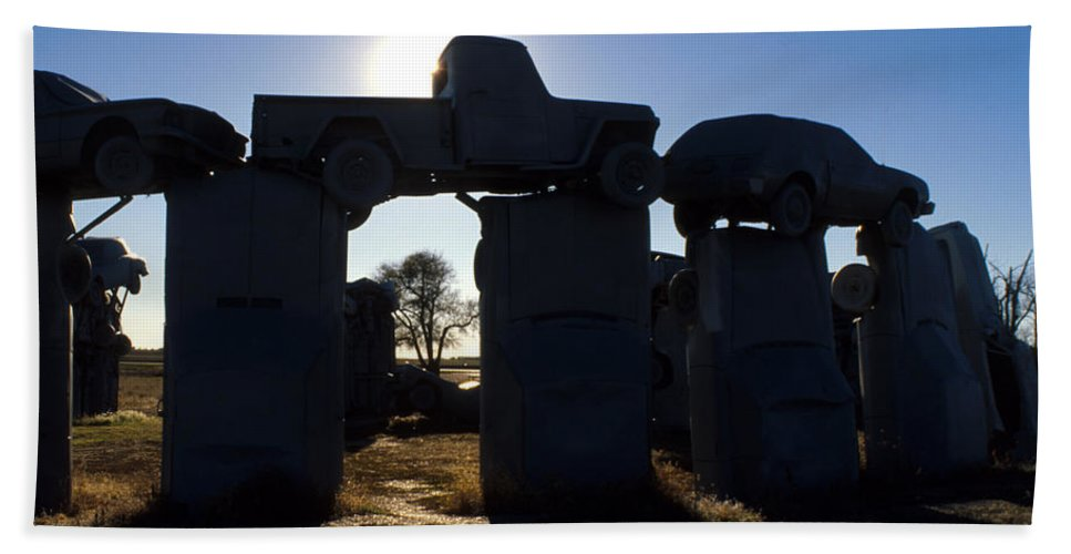 Car Henge Hand Towel featuring the photograph Awaiting The Aliens by Jerry McElroy