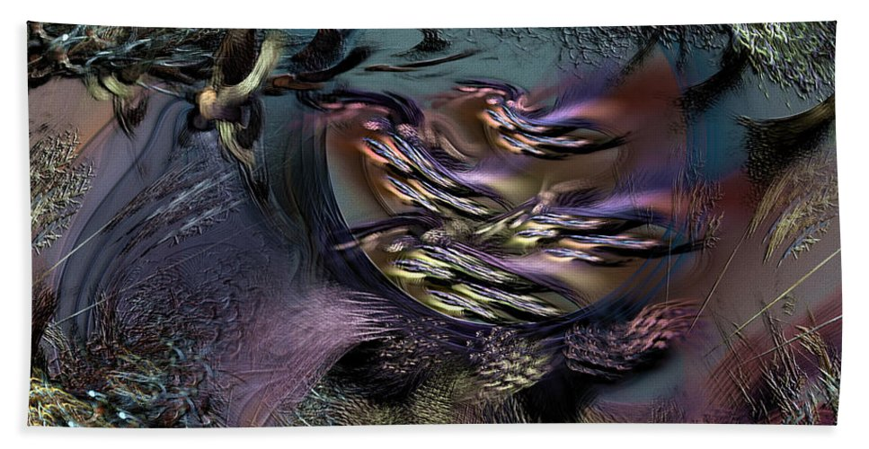 Abstract Hand Towel featuring the digital art Awaiting The Wraith by Casey Kotas