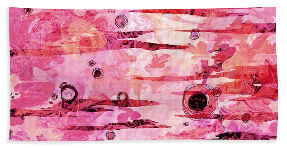 Abstract Bath Sheet featuring the digital art Awakened by Rachel Christine Nowicki
