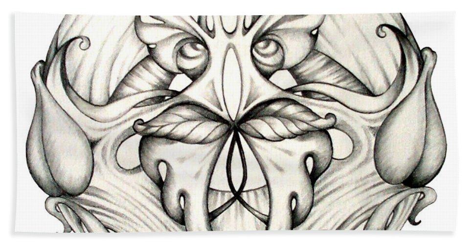 Mandala Bath Towel featuring the drawing Awakening by Shadia Derbyshire