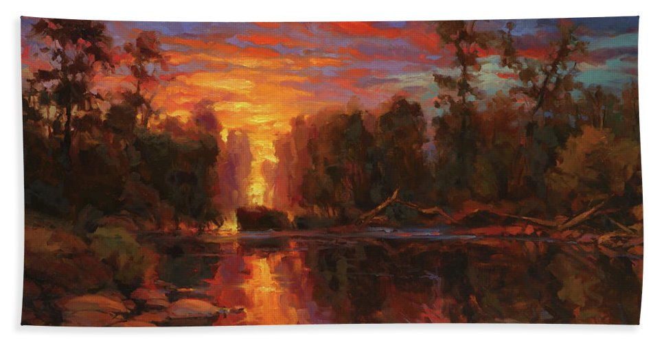Landscape Bath Towel featuring the painting Awakening by Steve Henderson