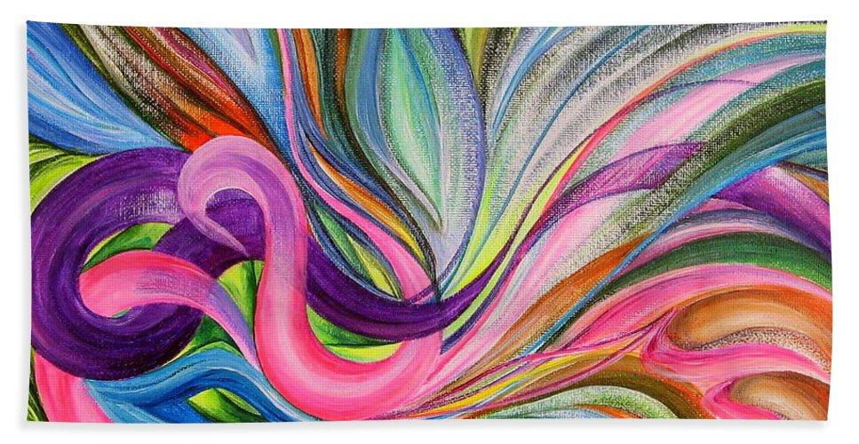Abstract Bath Sheet featuring the painting Awakening 1. Version 3. by Maya Bukhina