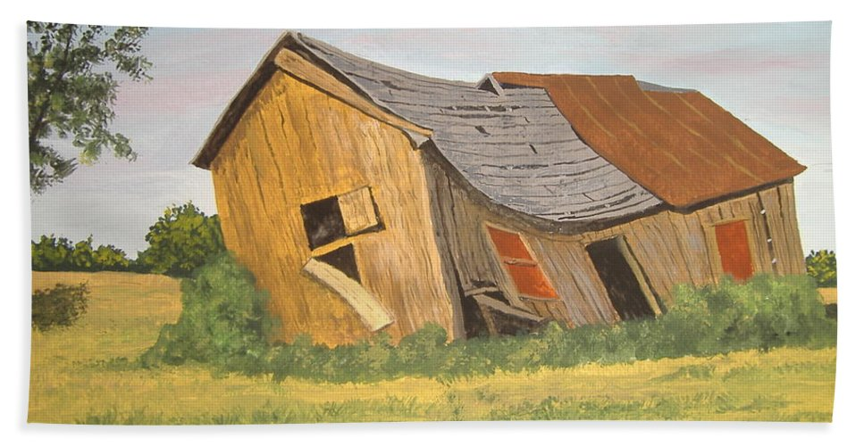 Barn Bath Sheet featuring the painting Award-winning Original Acrylic Painting - Now I Lay Me Down To Sleep by Norm Starks