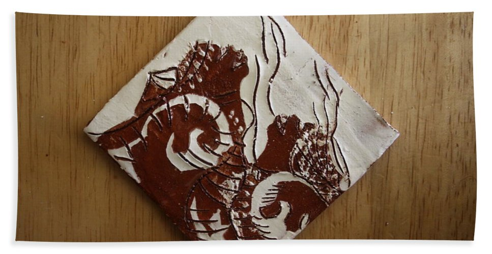 Jesus Hand Towel featuring the ceramic art Awareness - Tile by Gloria Ssali
