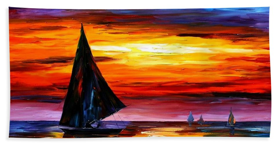 Afremov Hand Towel featuring the painting Away From The Sunset by Leonid Afremov