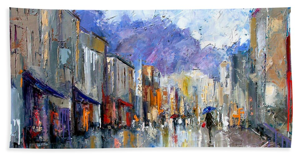 Architecture Hand Towel featuring the painting Awnings by Debra Hurd