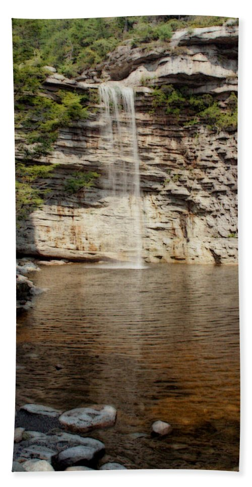 Nature Hand Towel featuring the photograph Awosting Falls by Linda Sannuti
