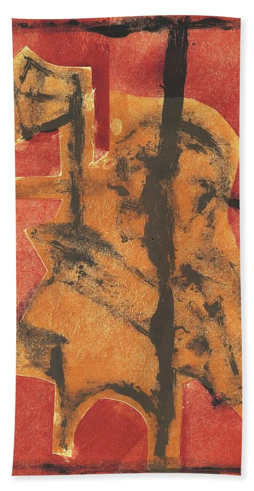 Axeman Bath Towel featuring the relief Axeman 14 by Artist Dot