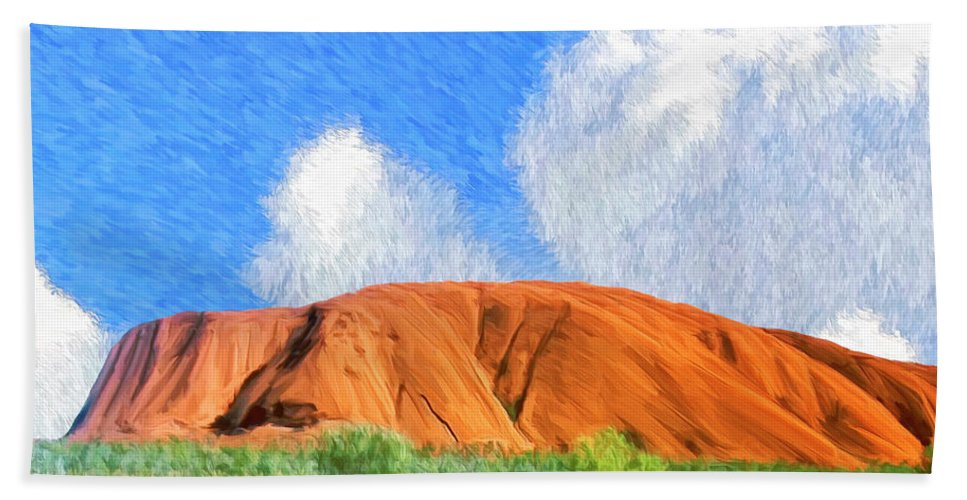 Ayers Rock Bath Sheet featuring the painting Ayers Rock by Dominic Piperata