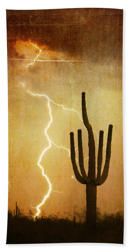 Arizona Hand Towel featuring the photograph Az Saguaro Lightning Storm V by James BO Insogna