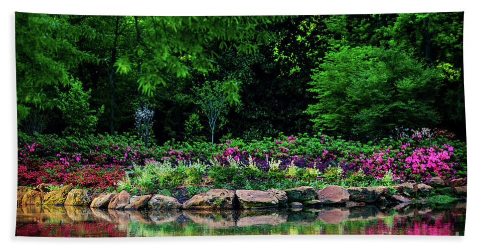 Tamyra Hand Towel featuring the photograph Azalea Pond by Tamyra Ayles