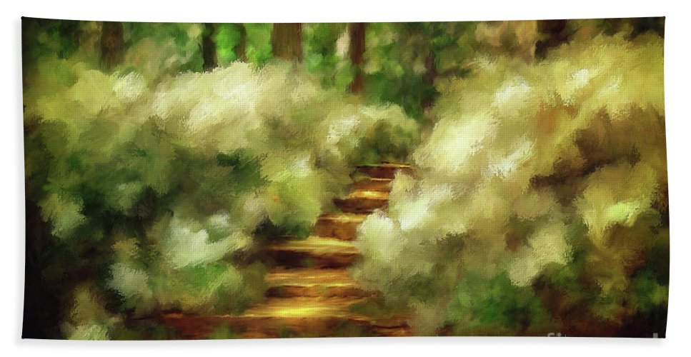 Spring Hand Towel featuring the photograph Azalea Stairs by Lois Bryan