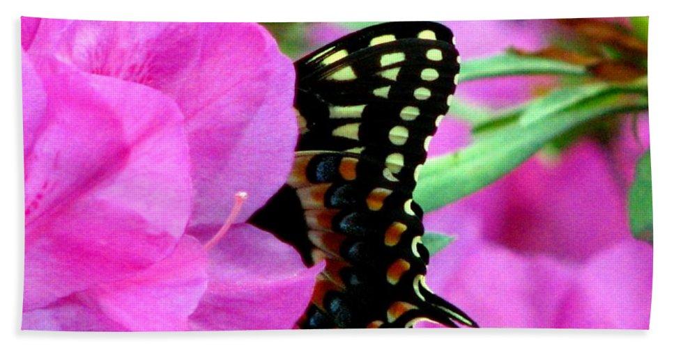 Azalea Bath Sheet featuring the photograph Azalea With Butterfly by J M Farris Photography