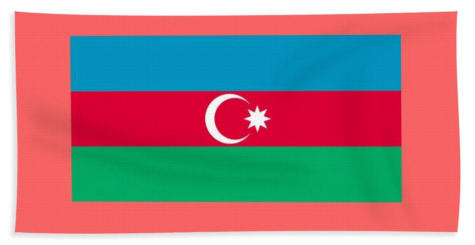 Flag Hand Towel featuring the digital art Azerbaijan Flag by Frederick Holiday