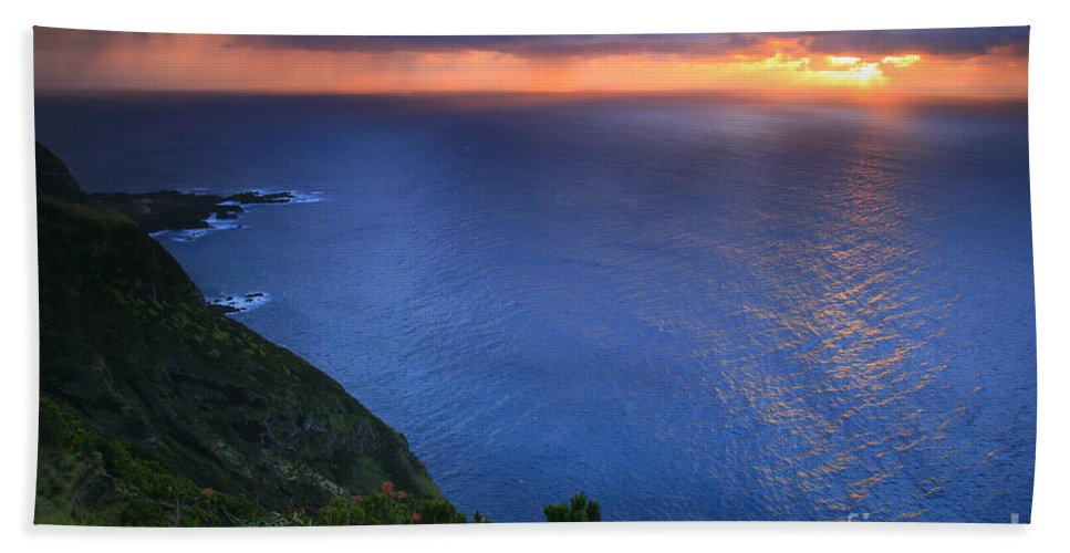 Island Bath Sheet featuring the photograph Azores Islands Sunset by Gaspar Avila