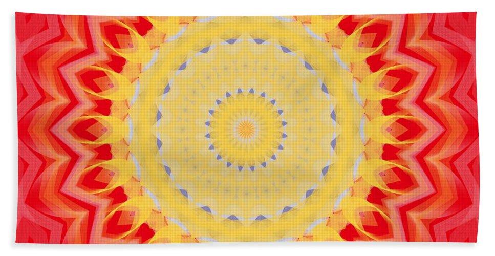 Sunburst Hand Towel featuring the digital art Aztec Sunburst by Roxy Riou