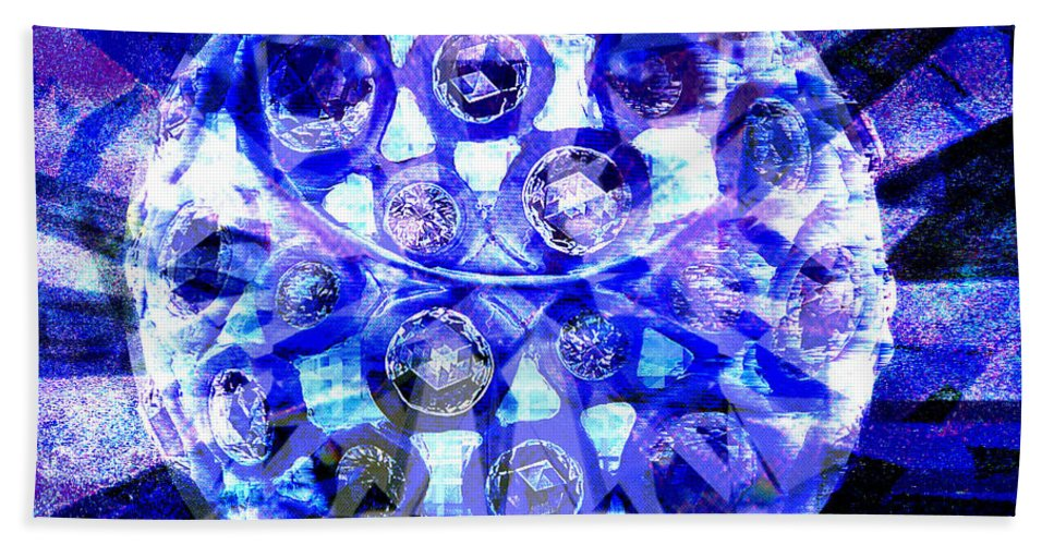 Abstract Hand Towel featuring the digital art Azure Orb Of Midas by Seth Weaver