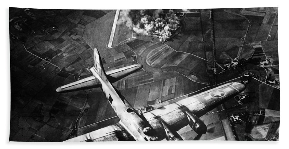 B 17 Bath Towel featuring the photograph B-17 Bomber Over Germany by War Is Hell Store