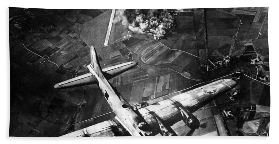 B 17 Bath Sheet featuring the photograph B-17 Bomber Over Germany by War Is Hell Store
