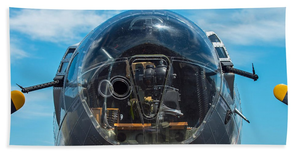 B 17 Hand Towel featuring the photograph B 17 Snout by Stephen Whalen