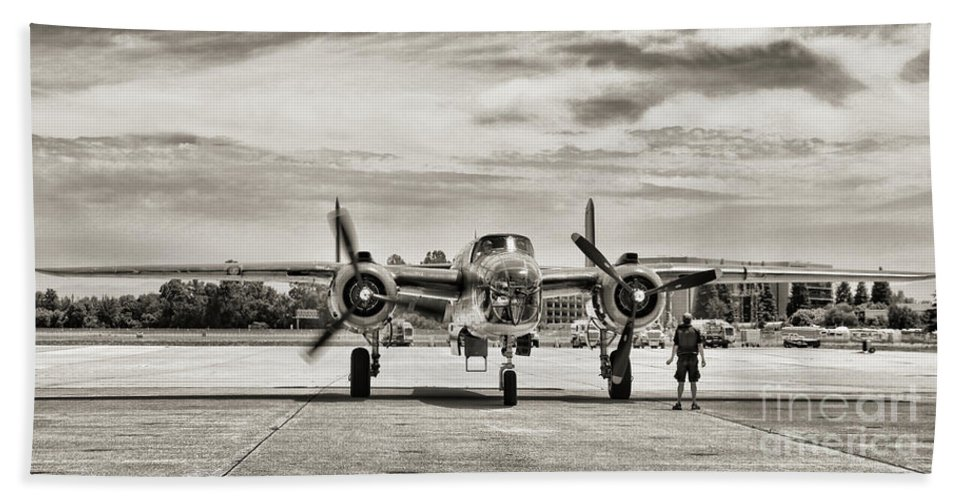 Wwii Bath Sheet featuring the photograph B-25j Mitchell Wwii Aircraft by Chuck Kuhn
