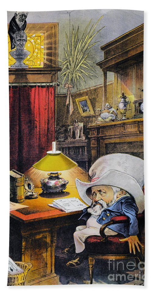 1892 Hand Towel featuring the photograph B. Harrison Cartoon, 1892 by Granger