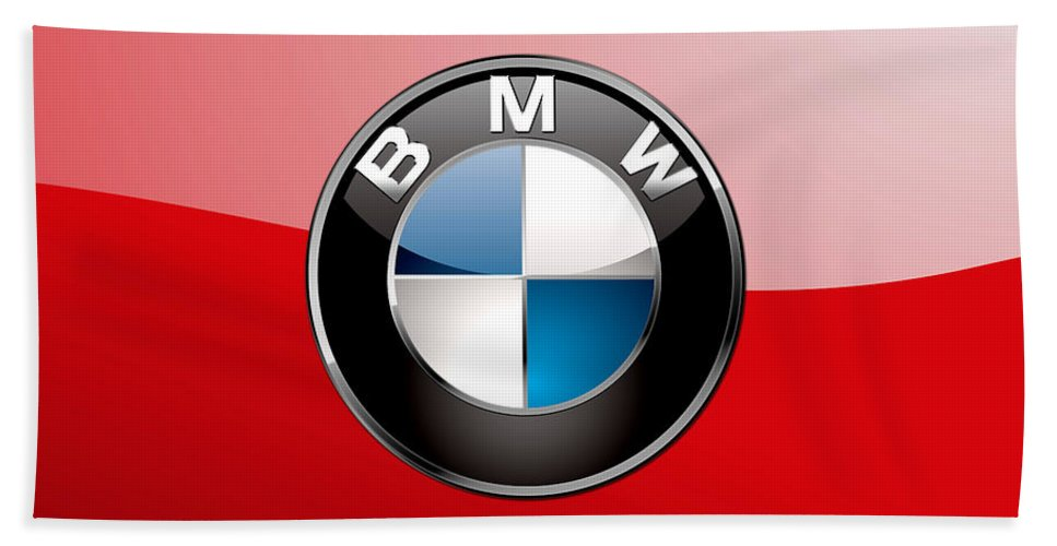 'auto Badges 3d' By Serge Averbukh Bath Towel featuring the photograph B M W Badge On Red by Serge Averbukh