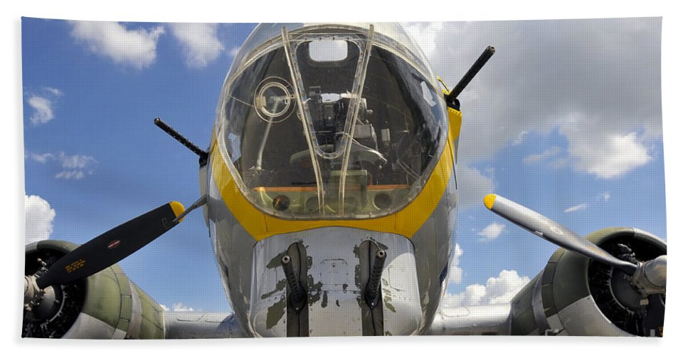 B 17 Bath Sheet featuring the photograph B Seventeen Nose by David Lee Thompson