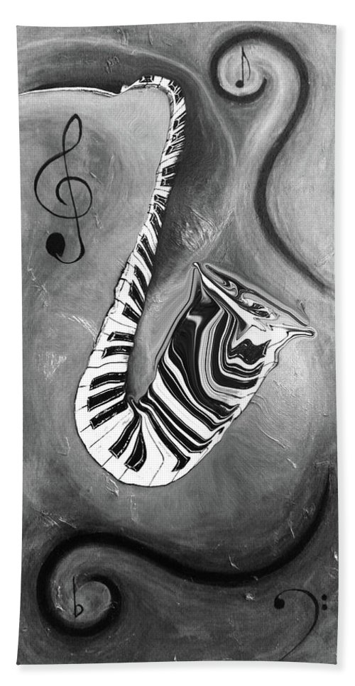 B & W Abstract Piano Key Reflections In The Saxophone - Music In Motion Hand Towel featuring the mixed media Piano Keys In A Saxophone B/w - Music In Motion by Wayne Cantrell