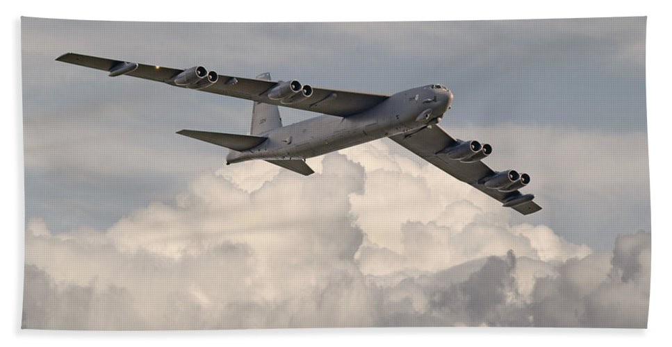 Aircraft Hand Towel featuring the photograph B52-h by Pat Speirs