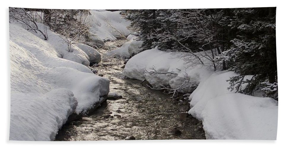 Babbling Brook Bath Sheet featuring the photograph Babbling Brook, Early Spring, Lake Louise, Alberta by Barry Lycka