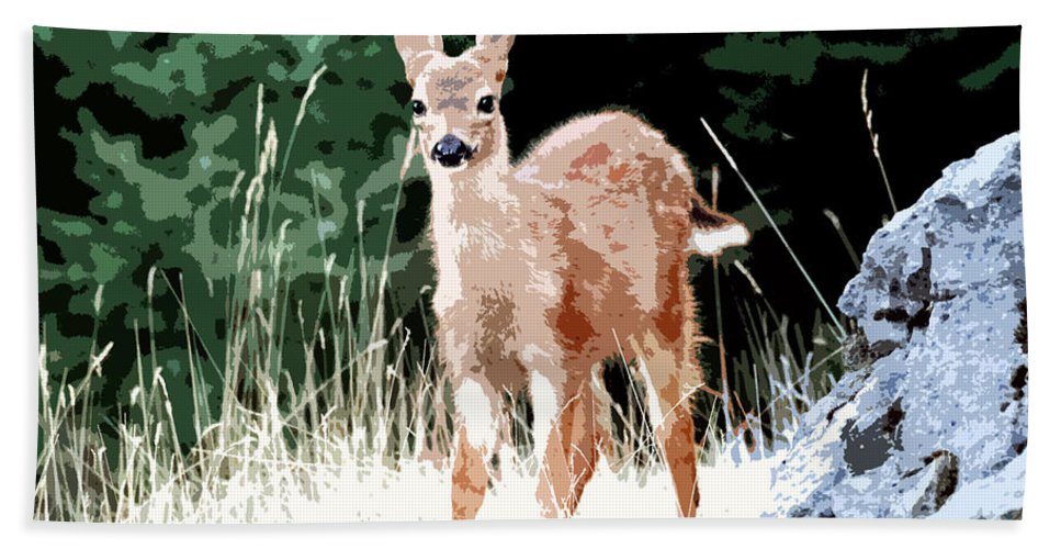 Dear Hand Towel featuring the painting Babe In The Woods by David Lee Thompson