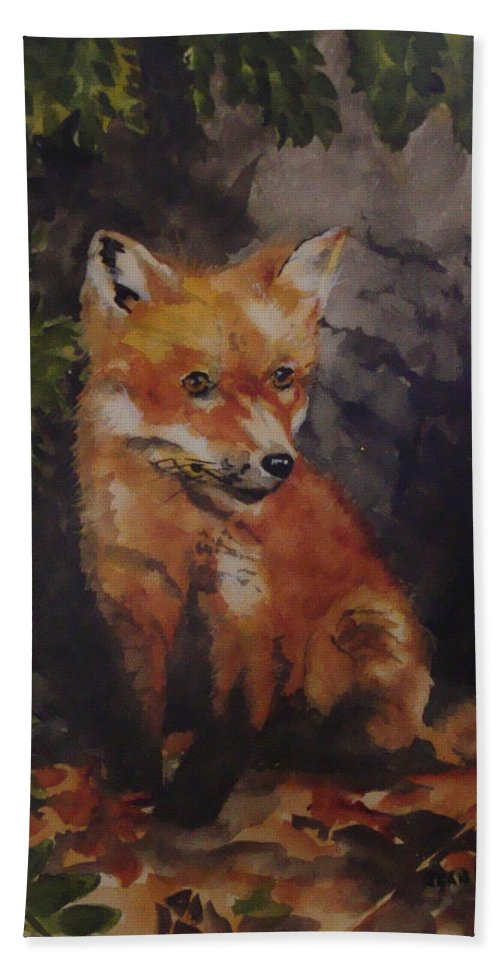 Fox Bath Towel featuring the painting Babe In The Woods by Jean Blackmer