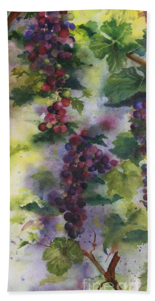 Cabernet Grapes Hand Towel featuring the painting Baby Cabernet I Triptych by Maria Hunt