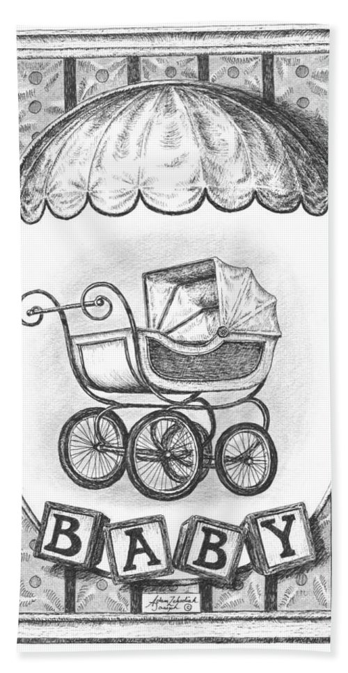 Black Bath Sheet featuring the drawing Baby Carriage by Adam Zebediah Joseph