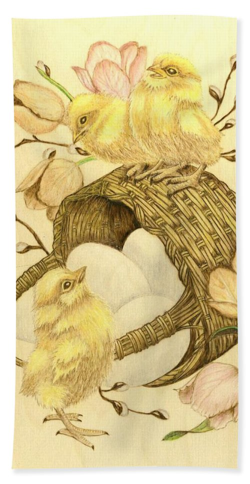 Chicks Hand Towel featuring the pyrography Baby Chicks by Danette Smith