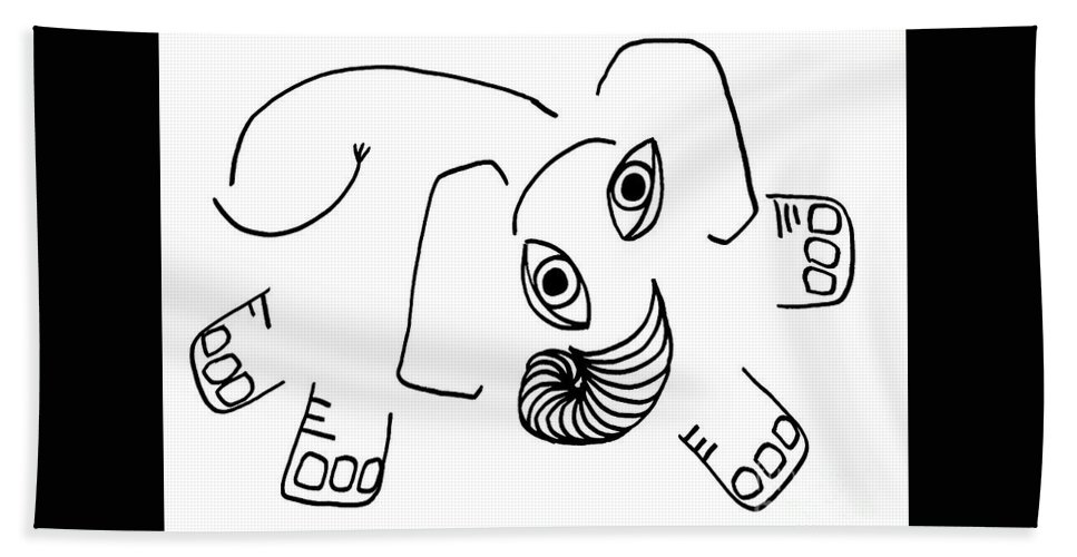 Elephant Hand Towel featuring the drawing Baby Elephant by Sarah Loft