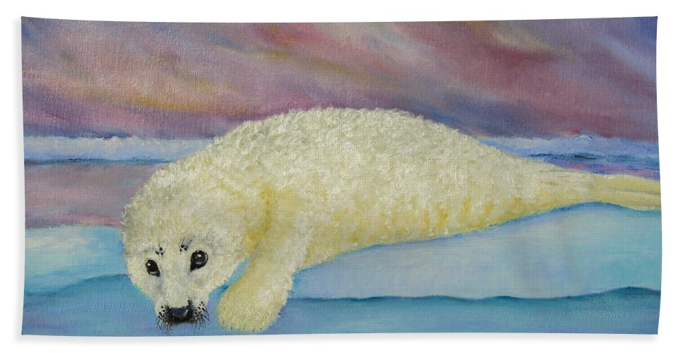 Seal Hand Towel featuring the painting Baby Harp Seal by Dee Carpenter