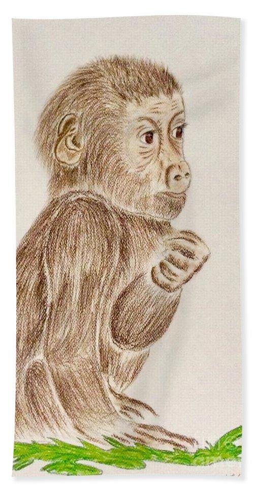 Baby Monkey Bath Sheet featuring the pastel Baby Monkey by Natalia Wallwork