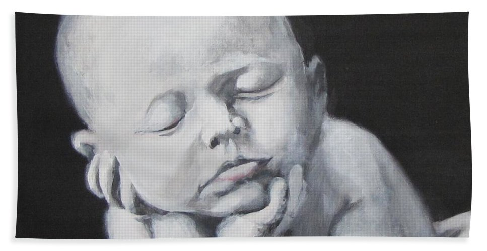 Baby Hand Towel featuring the painting Baby Nap by Eric Dee