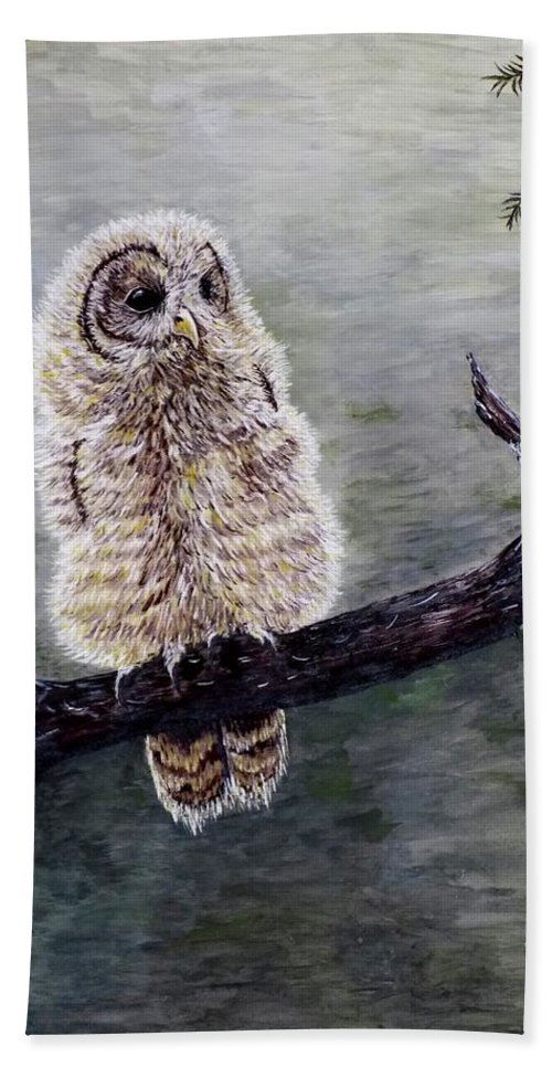 Owl Hand Towel featuring the painting Baby Owl by Judy Kirouac