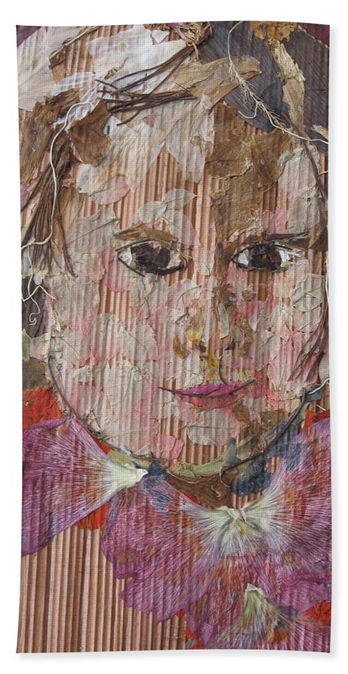 Portrait Hand Towel featuring the mixed media Baby Smiling Yet To Start by Basant Soni