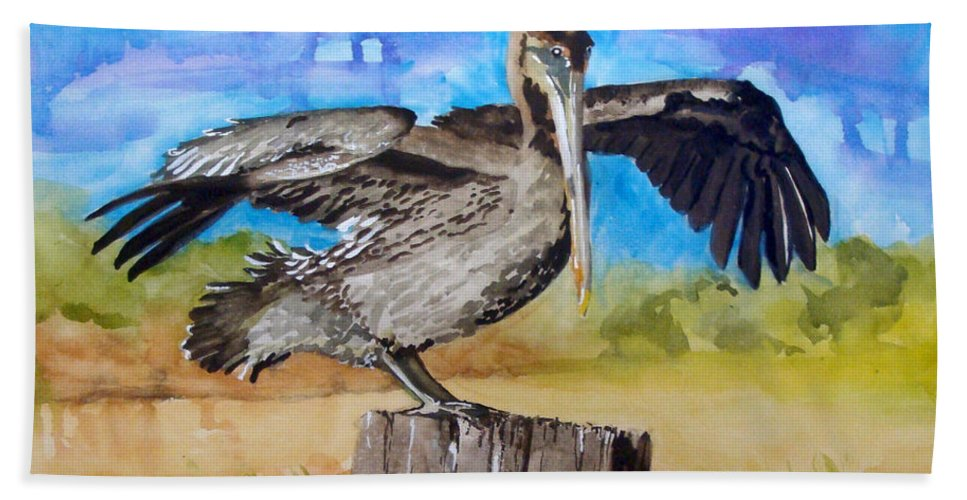 Pelican Bath Towel featuring the painting Baby Spreads His Wings by Jean Blackmer
