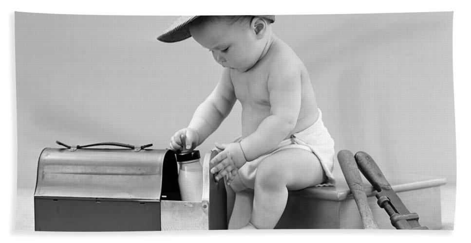 1940s Bath Sheet featuring the photograph Baby With Work Tools And Lunch Pail by H. Armstrong Roberts/ClassicStock
