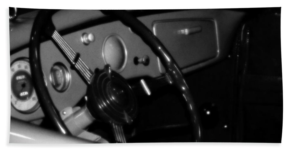 Black And White Bath Sheet featuring the photograph Baby You Can Drive My Car I by RC DeWinter