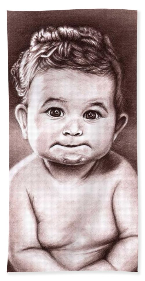 Baby Child Kind Enfant Face Sepia Charcoal Portrait Realism Bath Towel featuring the drawing Babyface by Nicole Zeug