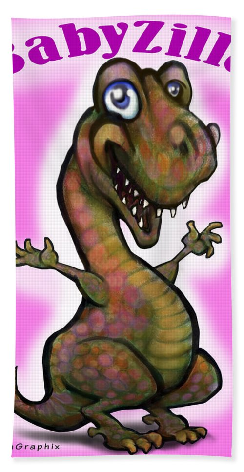 Babyzilla Hand Towel featuring the greeting card Babyzilla by Kevin Middleton