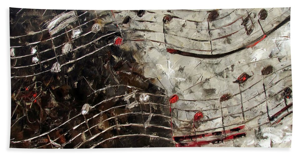 Bach Invention Bath Towel featuring the painting Bach Invention 13 by Debra Hurd