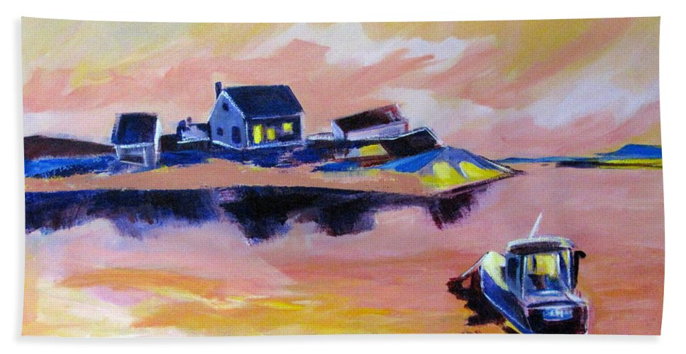 Back Bay Bath Sheet featuring the painting Back Bay by Betty Pieper